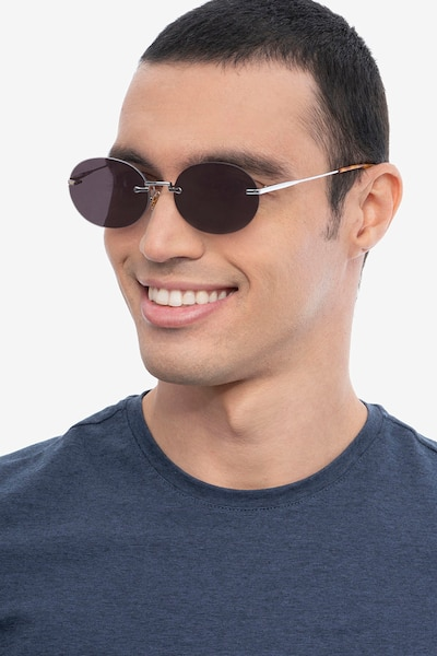 Daze Silver Metal Sunglass Frames for Men from EyeBuyDirect, Front View