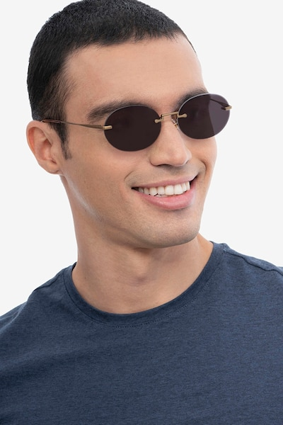 Daze Bronze Metal Sunglass Frames for Men from EyeBuyDirect, Front View