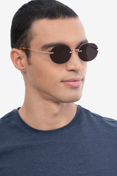 Daze Rose Gold Metal Sunglass Frames for Men from EyeBuyDirect, Front View