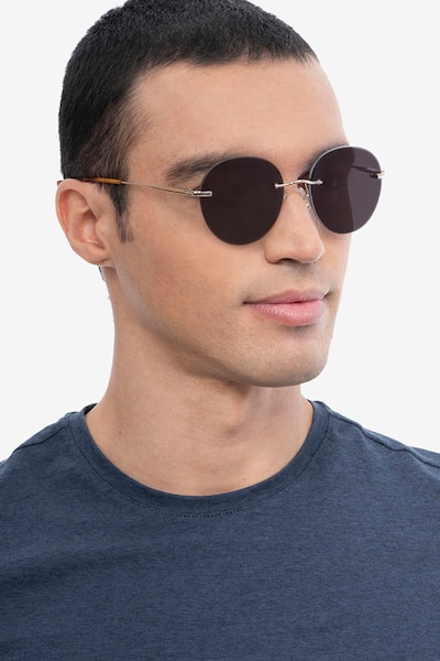 Coast Gold Metal Sunglass Frames for Men from EyeBuyDirect, Front View