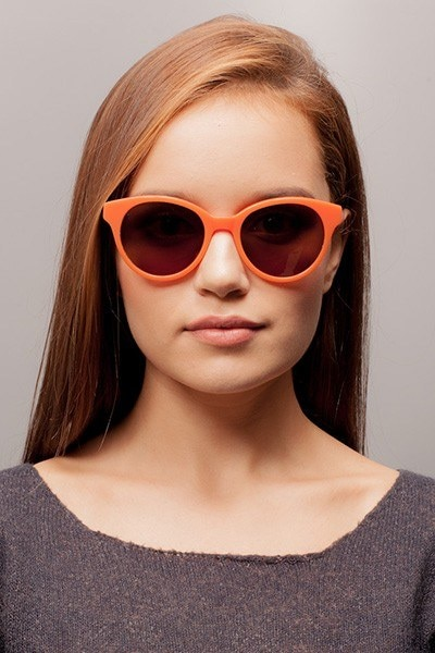 Angie Orange Acetate Sunglass Frames for Women from EyeBuyDirect, Front View