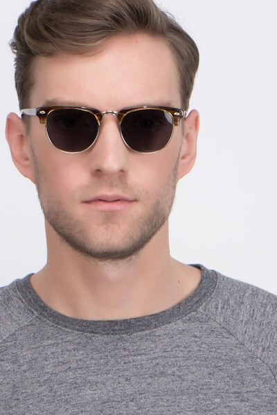 The Hamptons Brown Golden Metal Sunglass Frames for Men from EyeBuyDirect, Front View