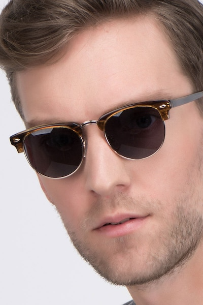 The Hamptons Brown Golden Metal Sunglass Frames for Men from EyeBuyDirect