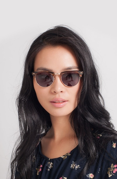 The Hamptons Brown Golden Metal Sunglass Frames for Women from EyeBuyDirect, Front View