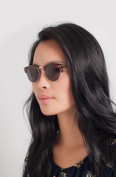 The Hamptons Brown Golden Acetate Sunglass Frames for Women from EyeBuyDirect