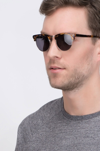 The Hamptons Golden Tortoise Metal Sunglass Frames for Men from EyeBuyDirect, Front View