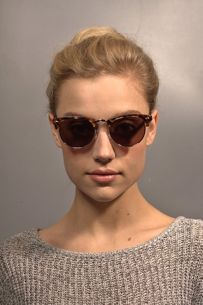 The Hamptons Golden Tortoise Acetate Sunglass Frames for Women from EyeBuyDirect, Front View