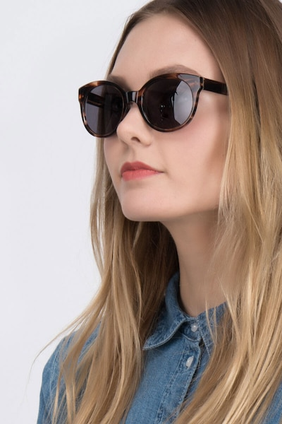 Matilda Brown/Tortoise Plastic Sunglass Frames for Women from EyeBuyDirect