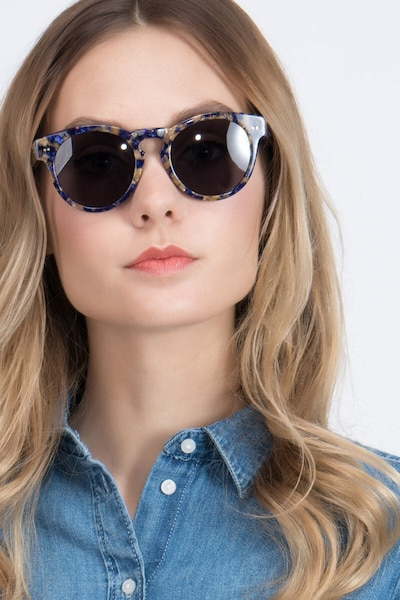 Penelope Blue/Tortoise Plastic Sunglass Frames for Women from EyeBuyDirect, Front View