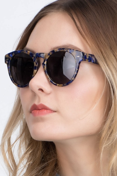 Penelope Blue/Tortoise Plastic Sunglass Frames for Women from EyeBuyDirect