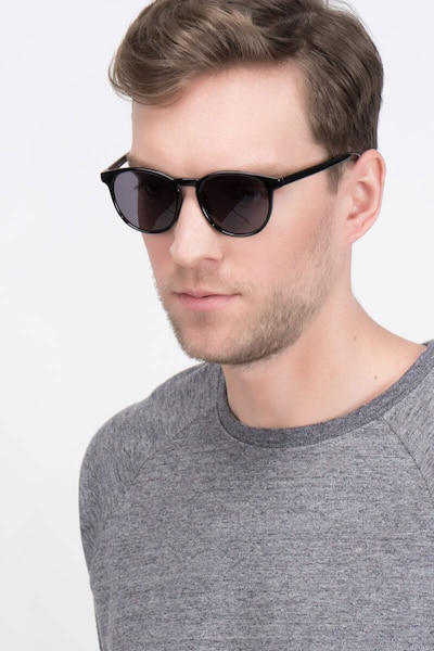 Deja Vu Black Plastic Sunglass Frames for Men from EyeBuyDirect, Front View