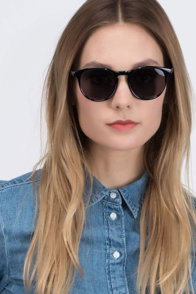 Deja vu Black Plastic Sunglass Frames for Women from EyeBuyDirect