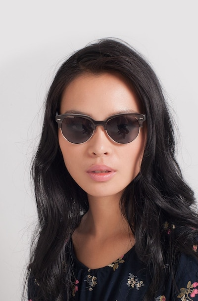 Carven Gray Plastic Sunglass Frames for Women from EyeBuyDirect, Front View