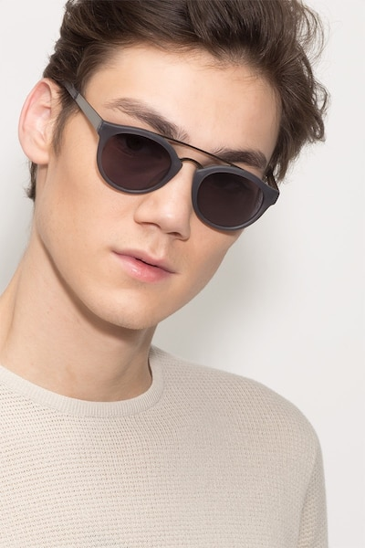 Enzo Matte Gray Acetate Sunglass Frames for Men from EyeBuyDirect, Front View