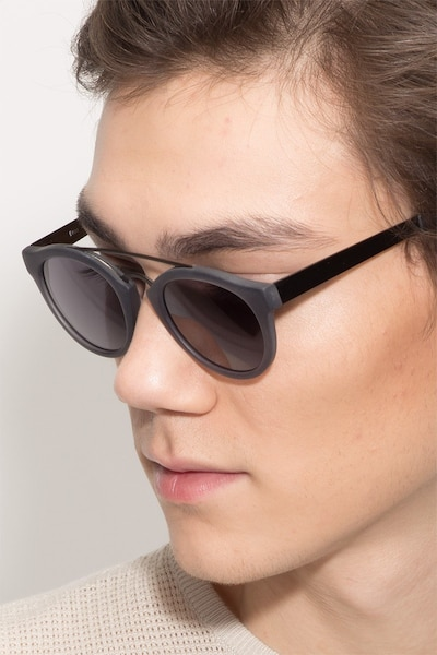 Enzo Matte Gray Acetate Sunglass Frames for Men from EyeBuyDirect