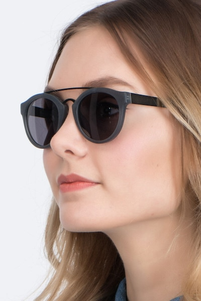 Enzo Matte Gray Acetate Sunglass Frames for Women from EyeBuyDirect