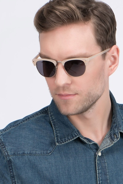 The Hamptons Matte Beige Acetate Sunglass Frames for Men from EyeBuyDirect, Front View