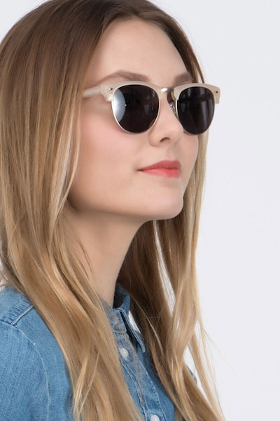 The Hamptons Matte Beige Metal Sunglass Frames for Women from EyeBuyDirect, Front View