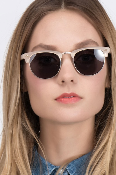 The Hamptons Matte Beige Metal Sunglass Frames for Women from EyeBuyDirect