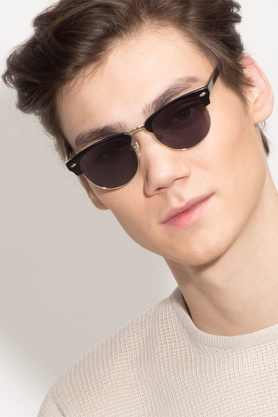 The Hamptons Black/Golden Acetate Sunglass Frames for Men from EyeBuyDirect, Front View