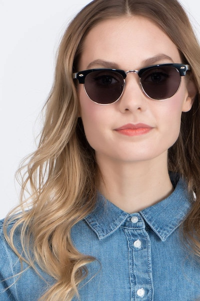 The Hamptons Black/Golden Acetate Sunglass Frames for Women from EyeBuyDirect, Front View