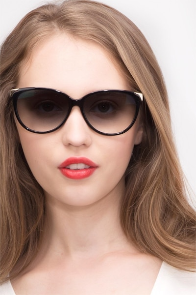 Lima Black Acetate Sunglass Frames for Women from EyeBuyDirect, Front View