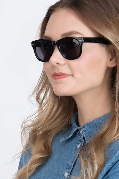 Hanoi Black Acetate Sunglass Frames for Women from EyeBuyDirect, Front View