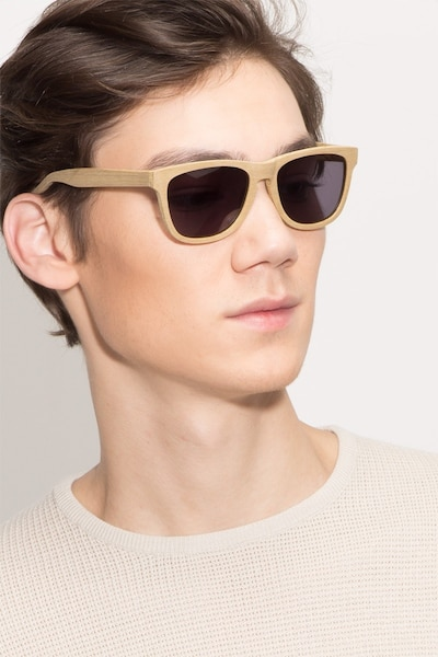 Malibu Yellow Wood-texture Sunglass Frames for Men from EyeBuyDirect, Front View
