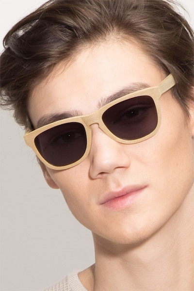 Malibu Yellow Wood-texture Sunglass Frames for Men from EyeBuyDirect