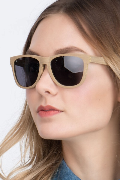 Malibu Yellow Wood-texture Sunglass Frames for Women from EyeBuyDirect