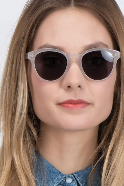 Augustine White Clear Acetate Sunglass Frames for Women from EyeBuyDirect