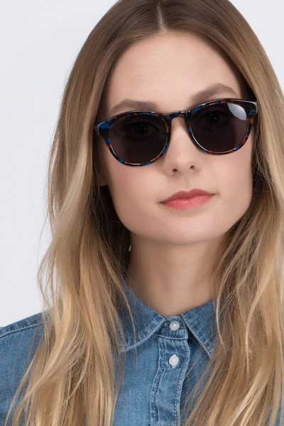Coppola Blue Floral Acetate Sunglass Frames for Women from EyeBuyDirect, Front View