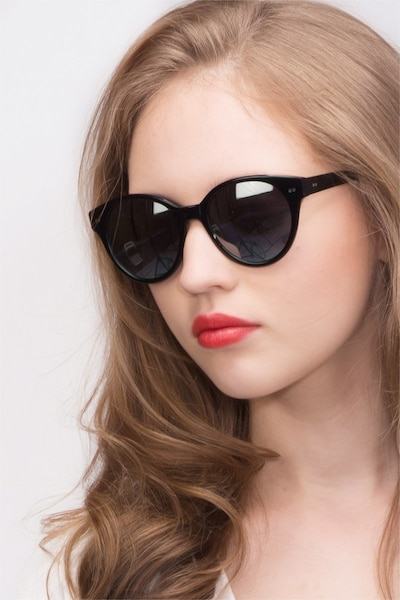 Angie  Black  Acetate Sunglass Frames for Women from EyeBuyDirect