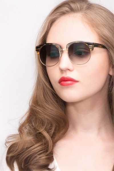 Simone  Green Striped  Acetate Sunglass Frames for Women from EyeBuyDirect, Front View