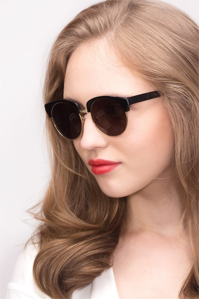 Simone  Black  Acetate Sunglass Frames for Women from EyeBuyDirect, Front View