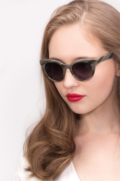 Divine Gray Striped Acetate Sunglass Frames for Women from EyeBuyDirect, Front View