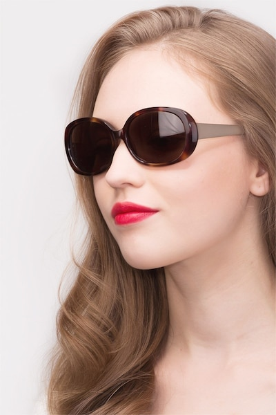 Lauren Tortoise Acetate Sunglass Frames for Women from EyeBuyDirect, Front View