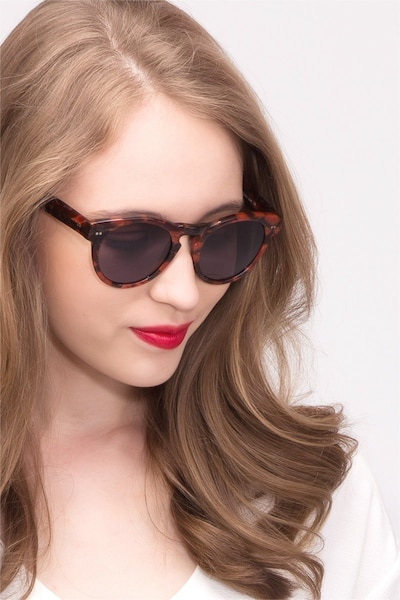 Penelope Red Floral Acetate Sunglass Frames for Women from EyeBuyDirect, Front View