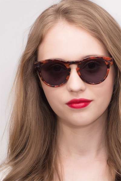 Penelope Red Floral Acetate Sunglass Frames for Women from EyeBuyDirect
