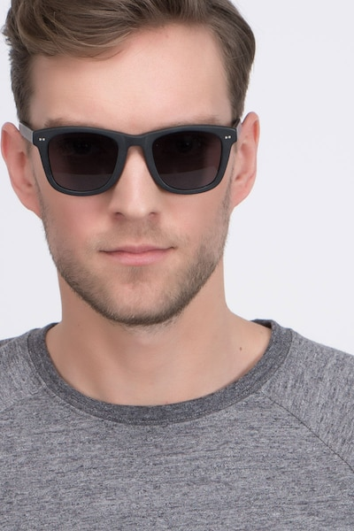 Nevada Matte Black Acetate Sunglass Frames for Men from EyeBuyDirect, Front View