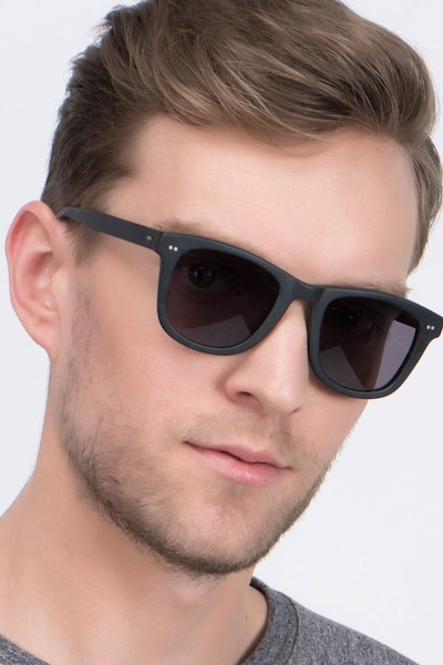 Nevada Matte Black Acetate Sunglass Frames for Men from EyeBuyDirect