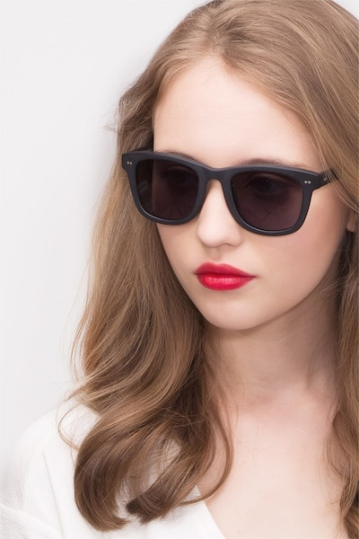 Nevada Matte Black Acétate Soleil de Lunettes pour Femmes d'EyeBuyDirect