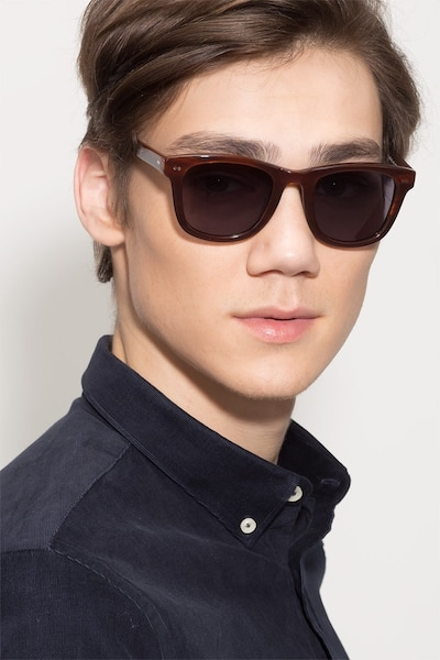 Nevada Brown Striped Acetate Sunglass Frames for Men from EyeBuyDirect