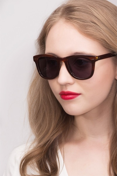 Nevada Brown Striped Acetate Sunglass Frames for Women from EyeBuyDirect