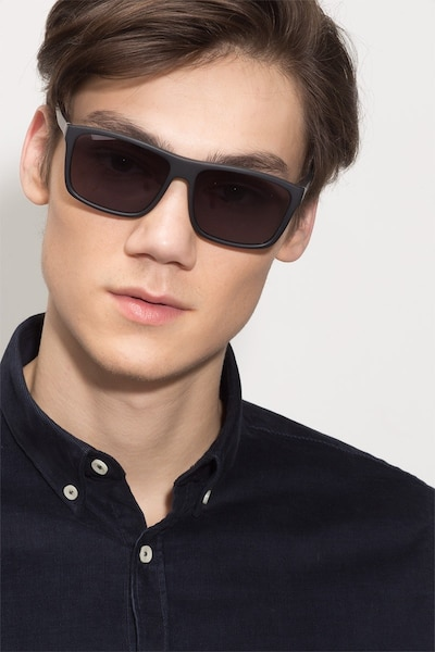 Perth Matte Black Acetate Sunglass Frames for Men from EyeBuyDirect, Front View