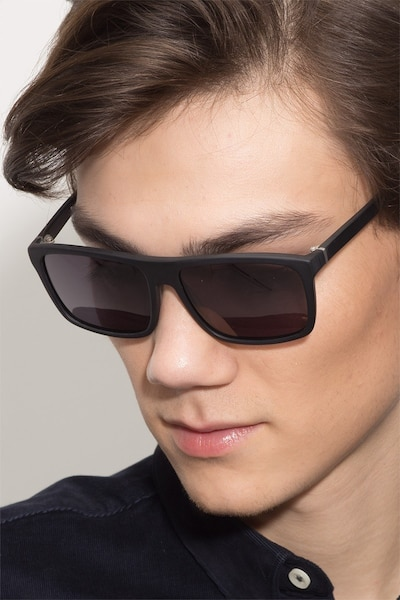 Perth Matte Black Acetate Sunglass Frames for Men from EyeBuyDirect