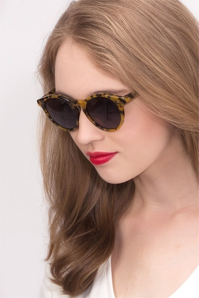 Havana Tortoise Acetate Sunglass Frames for Women from EyeBuyDirect, Front View