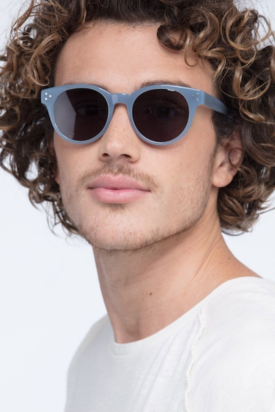 Minuit Blue Acetate Sunglass Frames for Men from EyeBuyDirect, Front View
