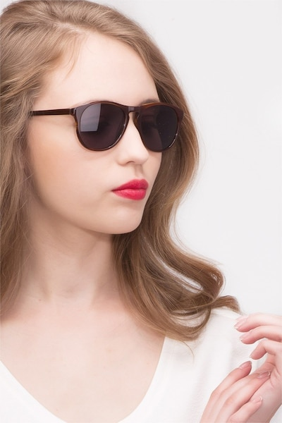 Silt Brown Acetate Sunglass Frames for Women from EyeBuyDirect, Front View