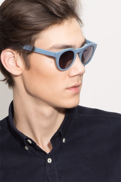 Ibiza Matte Blue Acetate Sunglass Frames for Men from EyeBuyDirect, Front View